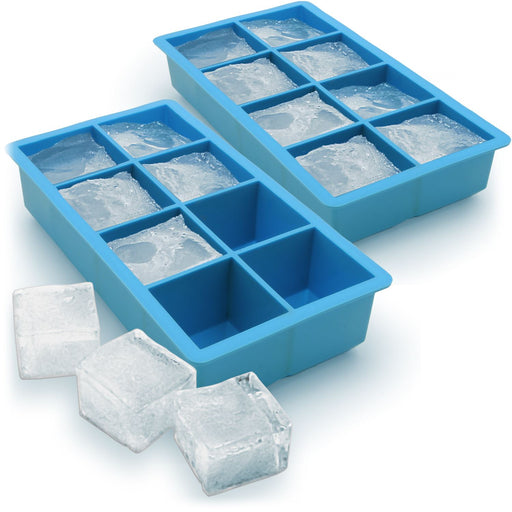 iGadgitz Home Silicone Ice Cube Tray 8 Extra Large Square Food Grade Jumbo Ice Cube Moulds - Pack of 2