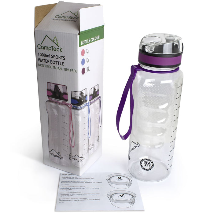 CampTeck 1 litre water bottle (1000ml - 34 fl. oz.) Sports Drinks Bottle BPA Free Tritan - Leak Proof Flip Lock Lid - with Carry Strap