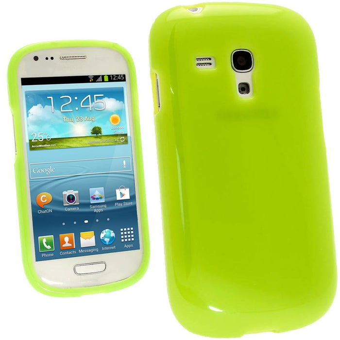 iGadgitz Green Glossy Gel Case for Samsung Galaxy S3 III Mini I8190 + Screen Protector