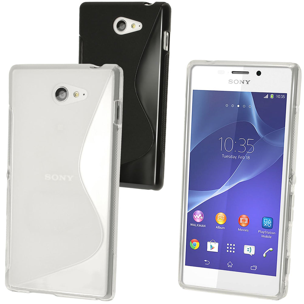 iGadgitz Clear S-Line TPU Gel Case for Sony Xperia M2 D2303 D2305 D2306 + Screen Protector
