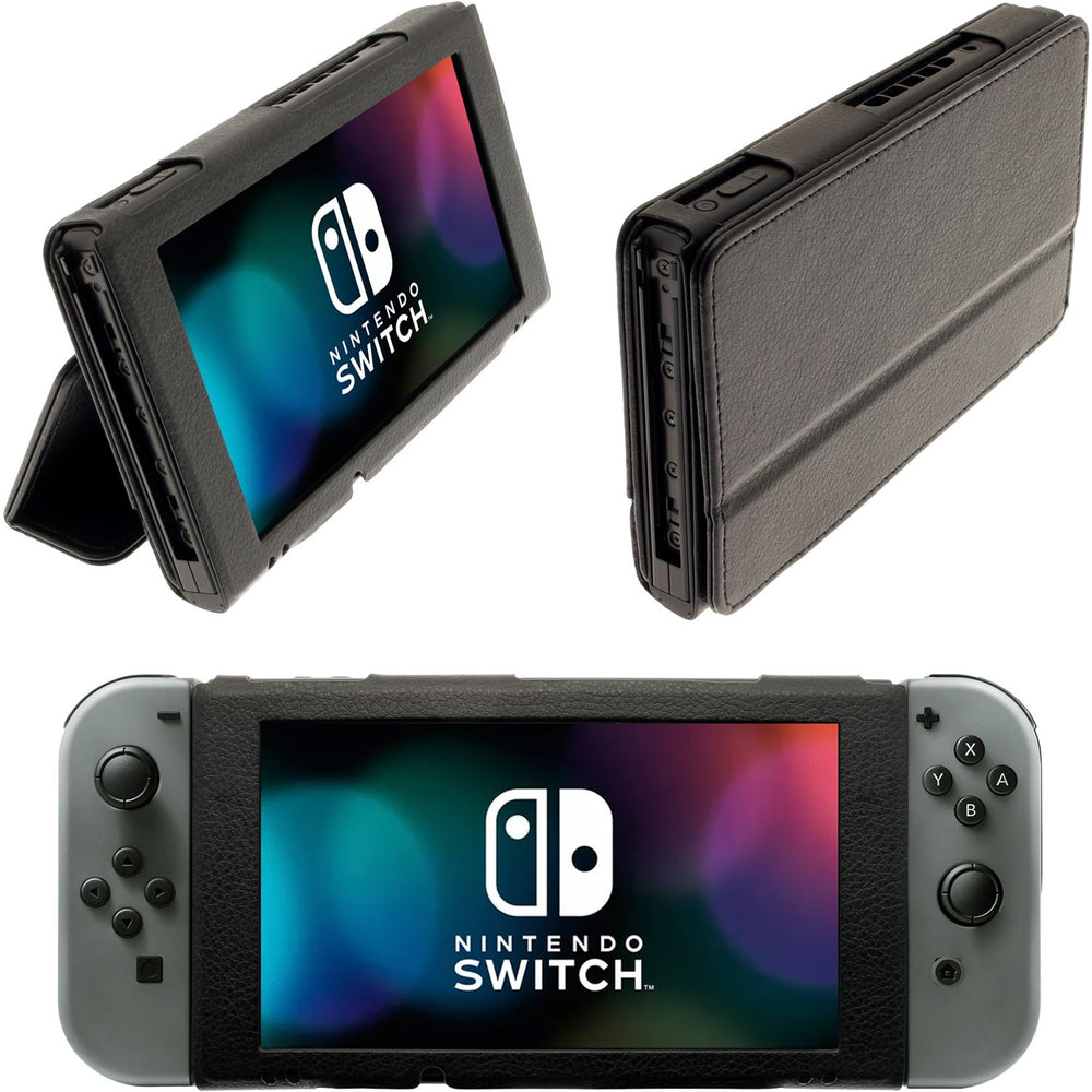 iGadgitz Black Portfolio PU Leather Flip Case for Nintendo Switch Cover with Foldable Stand
