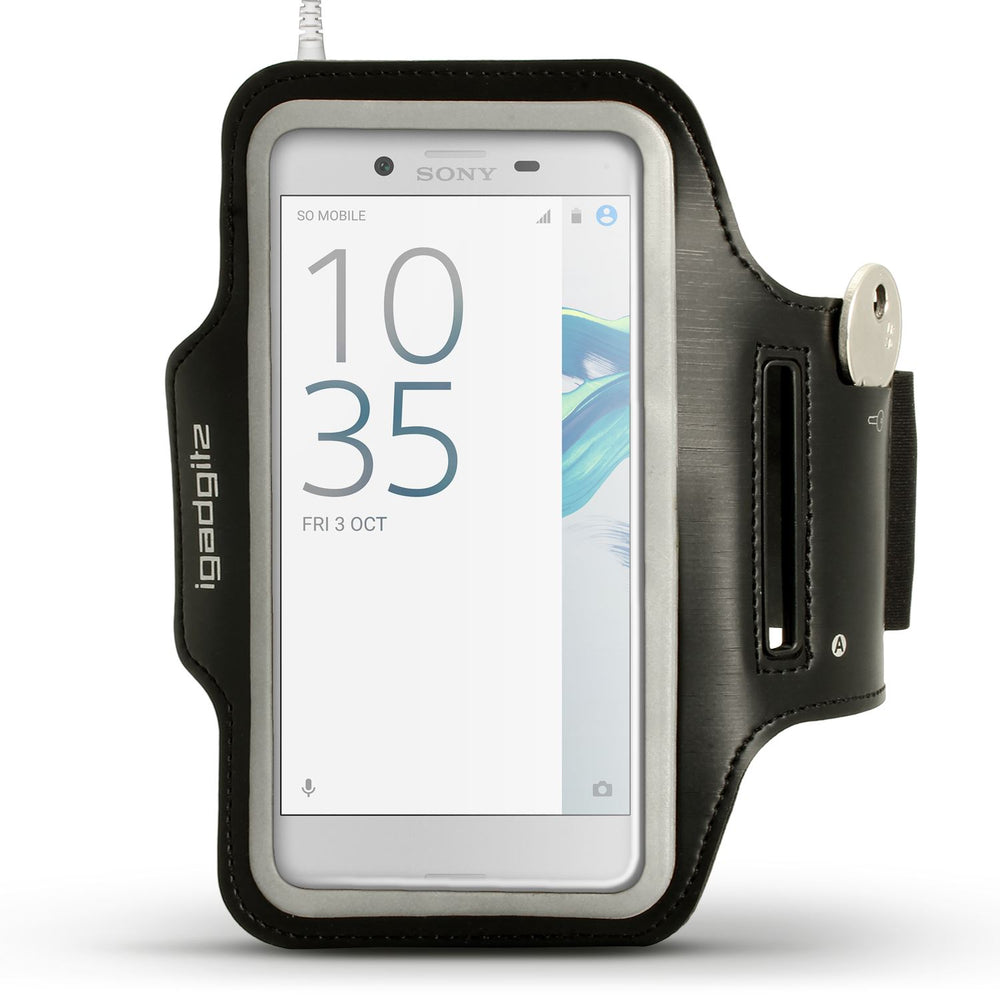 iGadgitz Reflective Black Sports Jogging Gym Armband for Sony Xperia X Compact with Key Slot