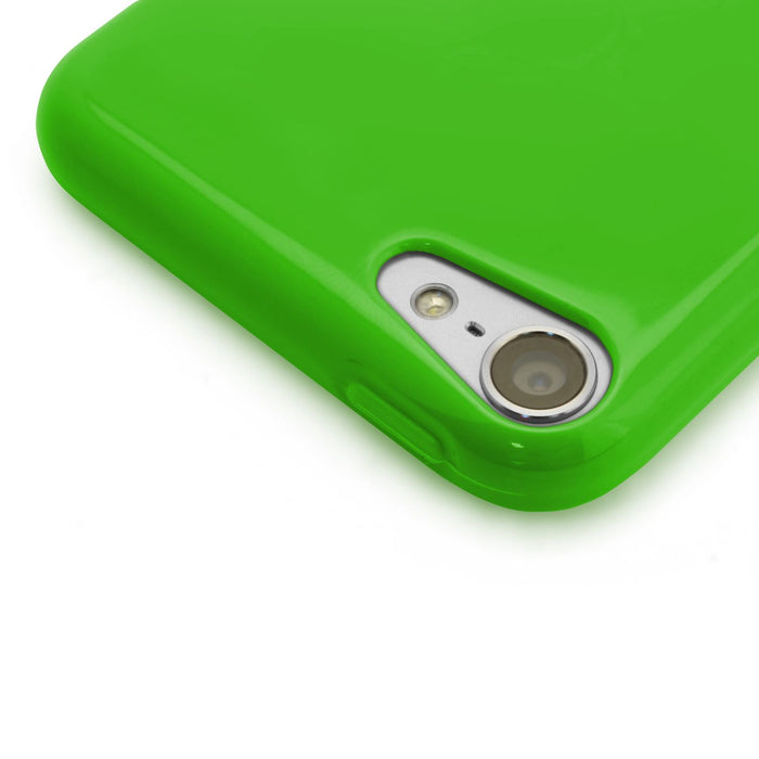 iGadgitz Green Glossy Crystal Gel Skin TPU Case Cover for Apple iPod Touch 6th & 5th Generation + Screen Protector