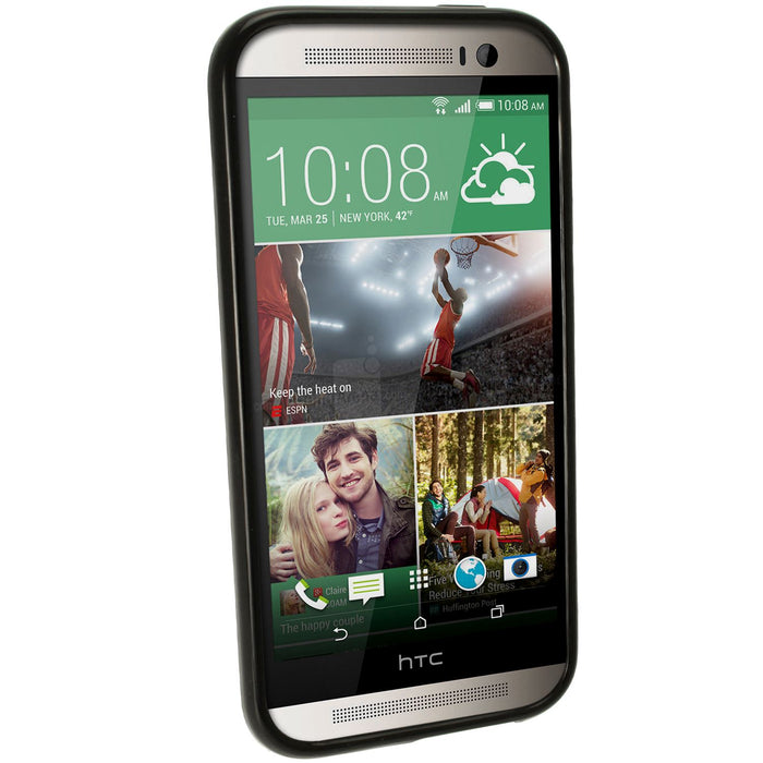 iGadgitz Black Glossy TPU Case for HTC One M8 2014 + Screen Protector