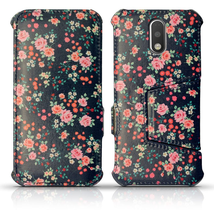 iGadgitz U5350 - Folio Pink Rose Floral Pattern PU Leather Case Cover for Motorola Moto G 4th Generation XT1622 (Moto G4) & Moto G4 Plus XT1644 with Stand  Screen Protector