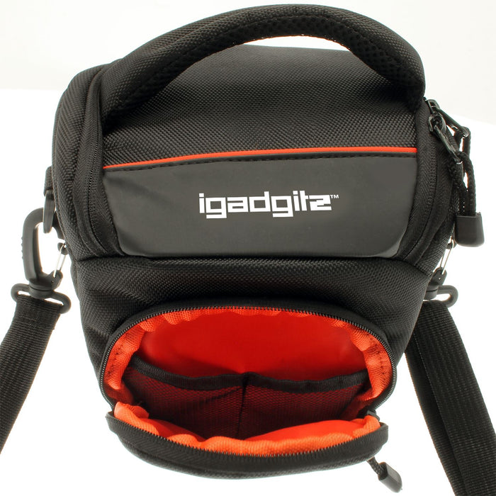 iGadgitz U4079 Small Black Water-Resistant Holster Travel Bag Case Compatible with Canon EOS Cameras