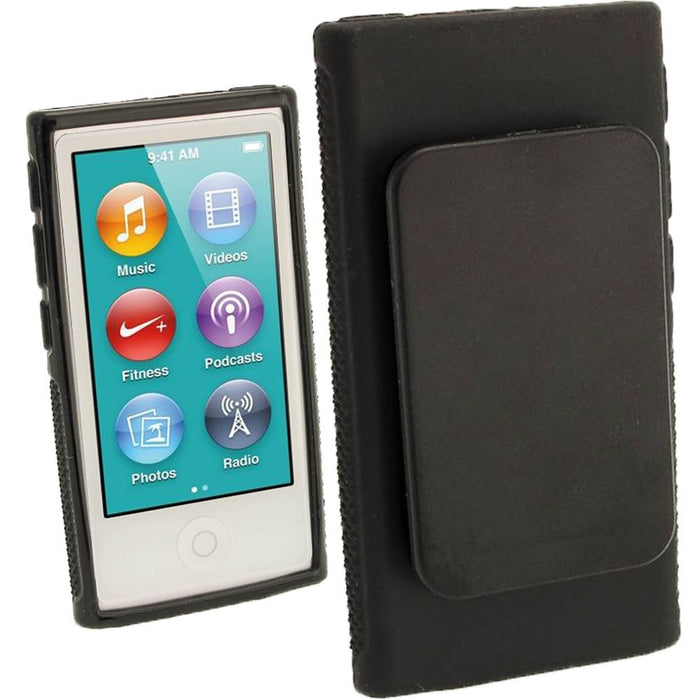 iGadgitz Black 'Clip'n'Go' Gel Case for Apple iPod Nano 7th Gen with Integrated Sports Clip + Screen Protector
