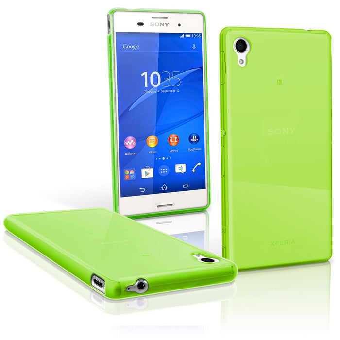 iGadgitz Glossy TPU Gel Skin Case Cover for Sony Xperia M4 Aqua 2015 E2303 + Screen Protector