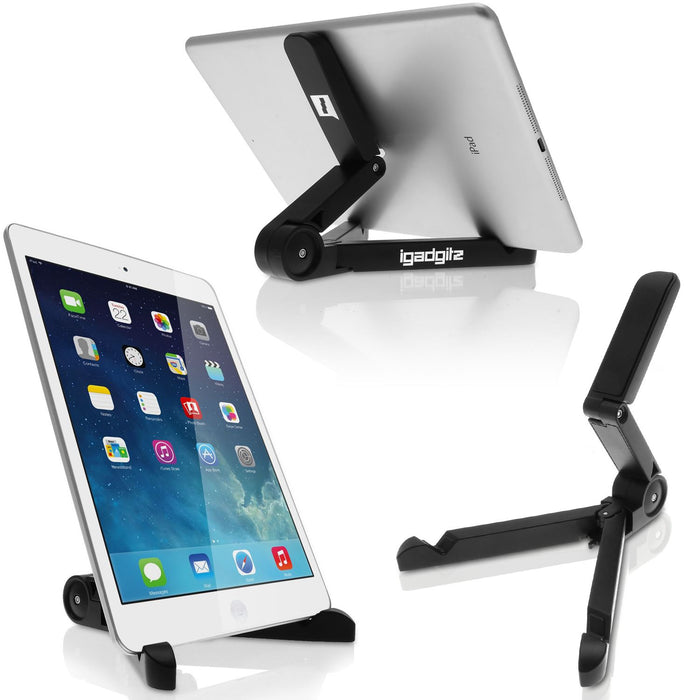 iGadgitz Black Adjustable Tablet Plastic Holder Stand (iPad Air Mini, Samsung Tab, Sony Xperia Tablet, ASUS, Kobo etc)