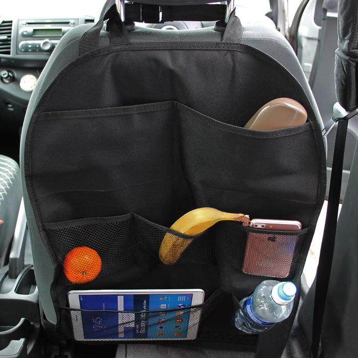 iGadgitz Car Seat Organiser Pockets Kick Mats Back Seat Travel Storage Stain Protector for Kids, Toddlers, Children - X2