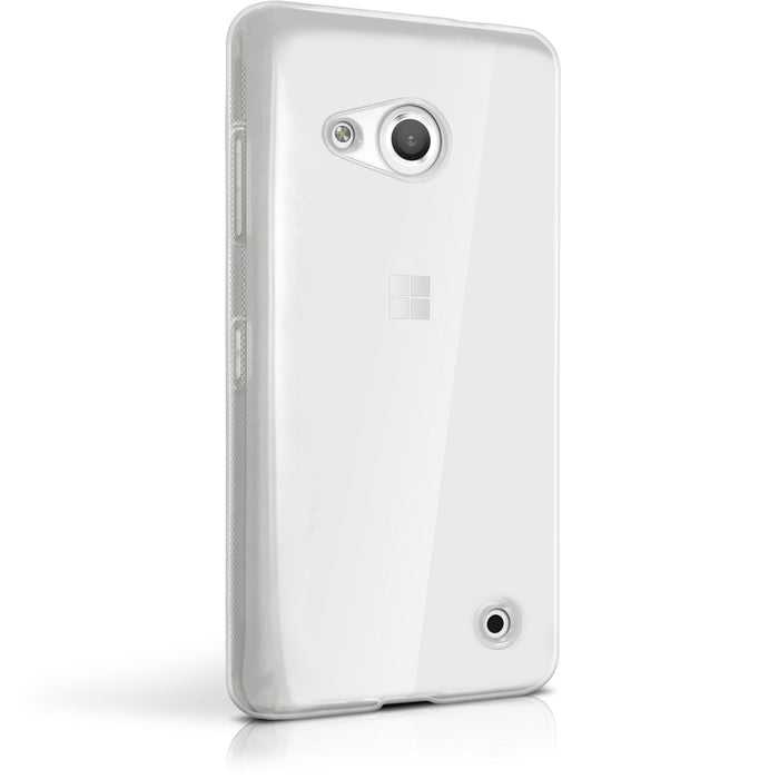 iGadgitz Transparent Clear Glossy TPU Gel Skin Case Cover for Microsoft Lumia 550 + Screen Protector