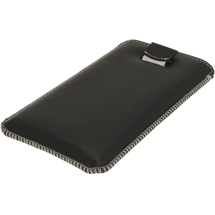 iGadgitz Black Genuine Leather Pouch Case Cover with Elasticated Pull Tab Release System for Sony Xperia Z
