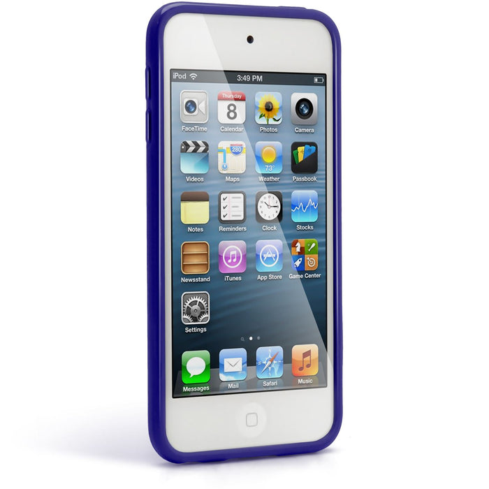 iGadgitz Blue Glossy Crystal Gel Skin TPU Case Cover for Apple iPod Touch 6th & 5th Generation + Screen Protector