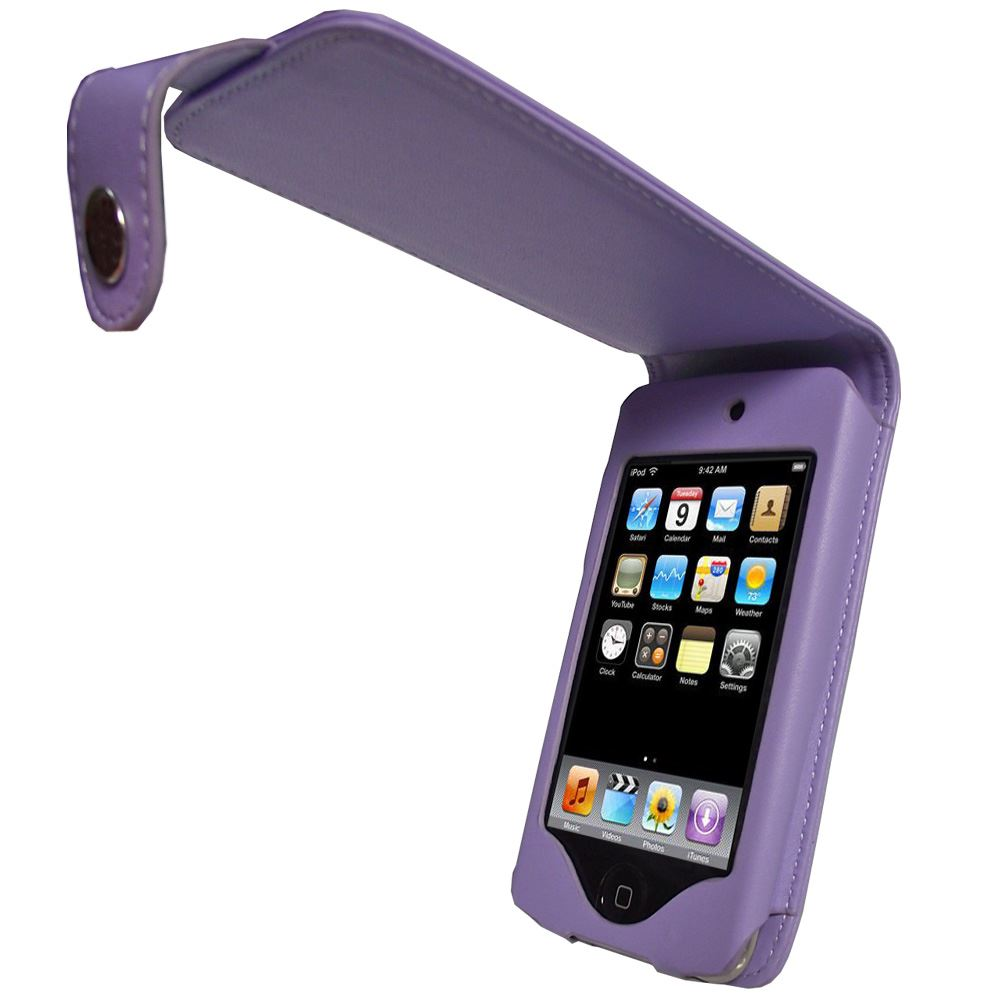iGadgitz Purple Leather Case Cover for Apple iPod Touch 2nd & New 3rd Generation 8gb, 16gb, 32gb & 64gb + Belt Clip