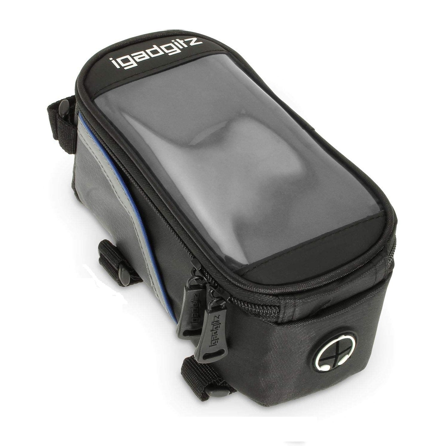 iGadgitz Reflective Water Resistant Front Top Tube Pannier Bike Frame Storage Bag with Phone, iPod, MP3, GPS Holder