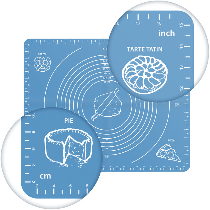 Silicone Baking Mat with Cake Mould,Non-Stick Pastry Mat with Measurements,Dough Rolling Mat with Measurement BPA Free 50Cm X 40Cm