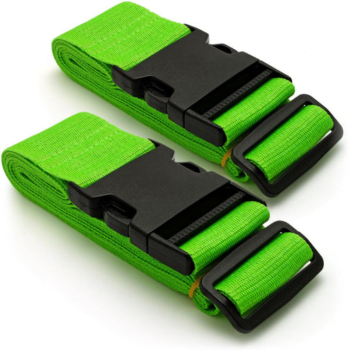 CampTeck Long Travel Luggage Straps Adjustable Suitcase Safety Belts– Green, 1 Pair