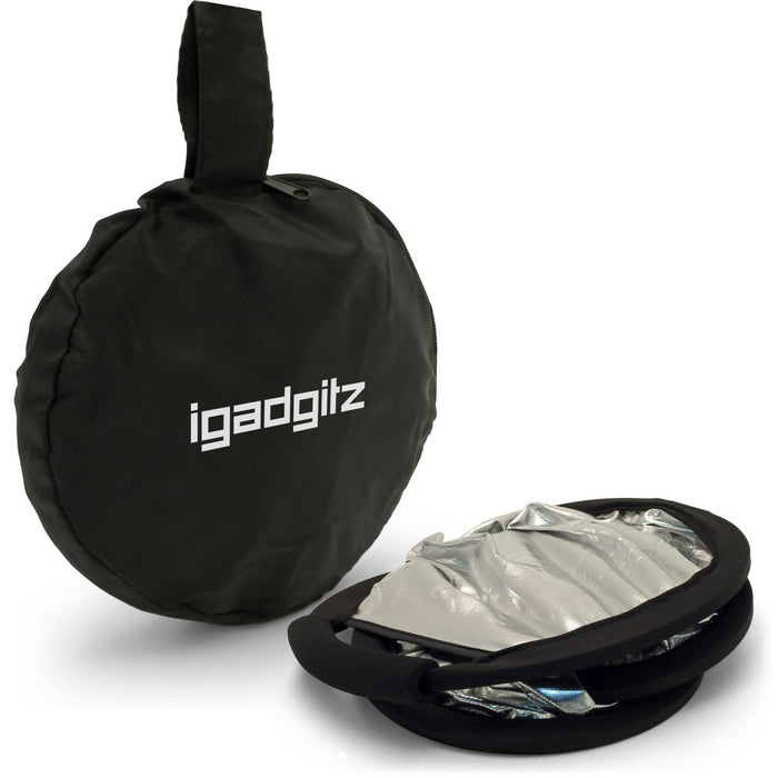 "iGadgitz 30cm (12"") 2-in-1 Collapsible Triangle Studio Light Reflector with Handheld Grip & Carrying Case – Gold & Silver"
