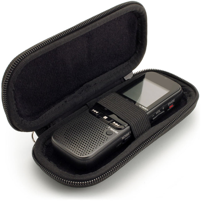 iGadgitz Black EVA Zipper Carrying Hard Case Cover for Digital Voice Recorders (Internal Dimensions: 125x50x22mm)