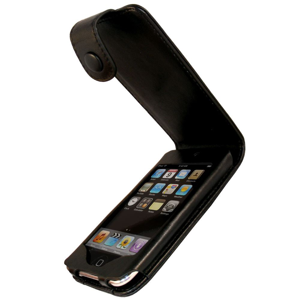 iGadgitz Black Genuine Leather Case for Apple iPod Touch 2nd & 3rd Gen + Belt Clip & Screen protector