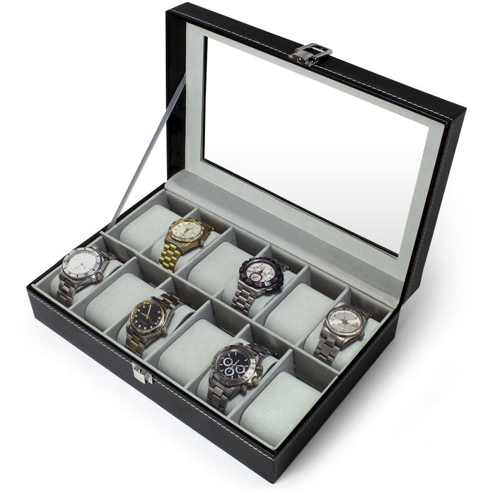 iGadgitz Home Watch Box Watch Display Case (6 or 12 Watches)