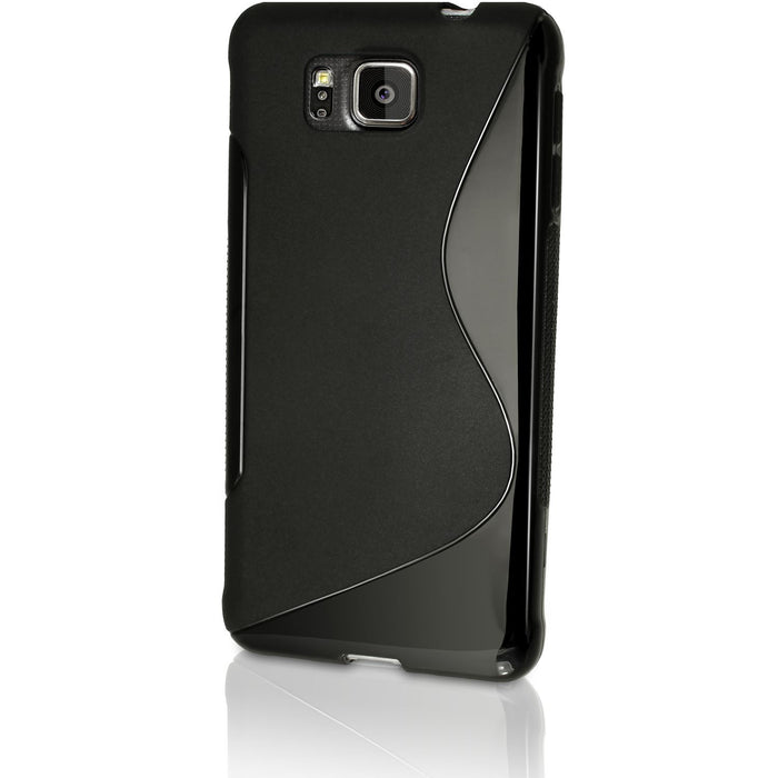 iGadgitz S Line Wave Black Glossy TPU Gel Skin Case Cover for Samsung Galaxy Alpha SM-G850 + Screen Protector