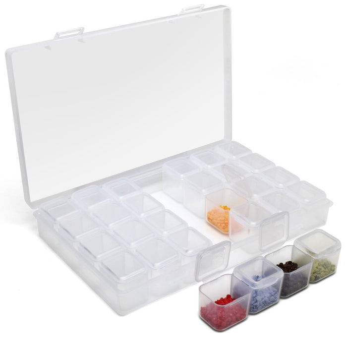iGadgitz Home Diamond Painting Storage Boxes (28 pots) Embroidery Bead Organiser Box