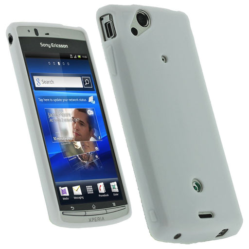 iGadgitz White Glossy Gel Case for Sony Ericsson Xperia Arc S + Screen Protector