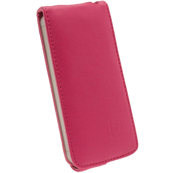 iGadgitz Pink Leather Case Cover Holder for Apple iPhone SE, 5S & 5 + Screen Protector (Not suitable for iPhone 5C)