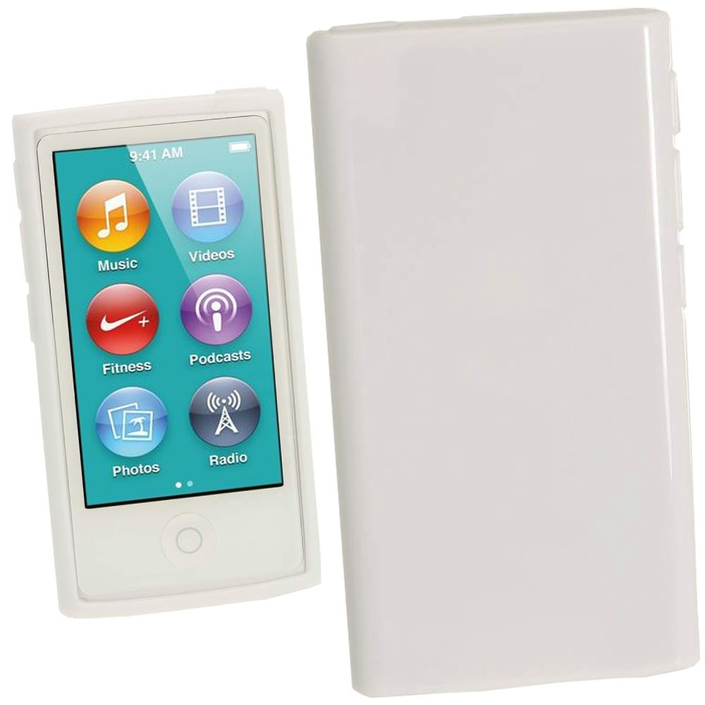iGadgitz White Glossy Gel Case for Apple iPod Nano 7th Generation 7G 16GB + Screen Protector