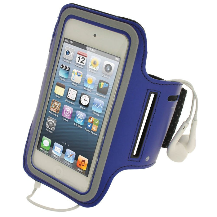 iGadgitz Blue Reflective Neoprene Sports Gym Jogging Armband for Apple iPod Touch 6th & 5th Generation