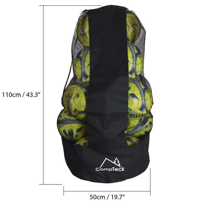 CampTeck U7081 Drawstring Ball Bag Football Bag Polyester Ball Net Bag with Shoulder Strap - Black