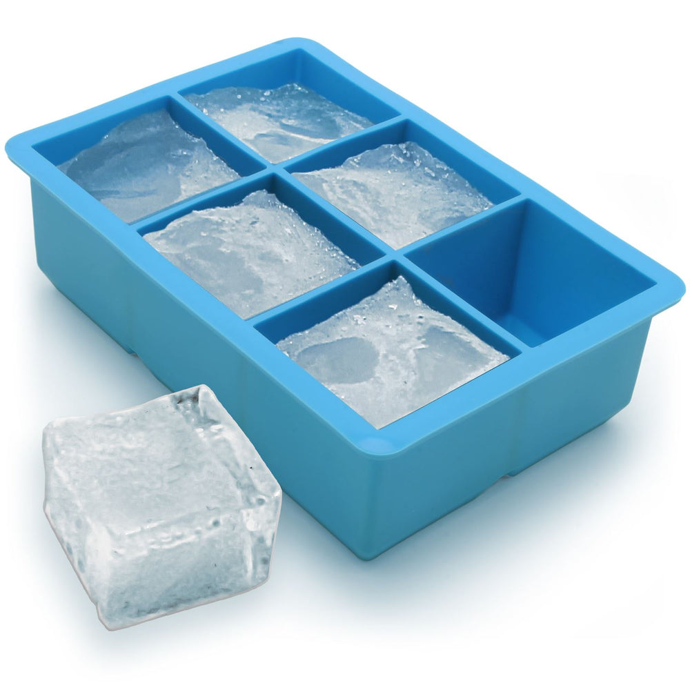 iGadgitz Home Silicone Ice Cube Tray 6 Extra Large Square Food Grade Jumbo Ice Cube Moulds - Pack of 1