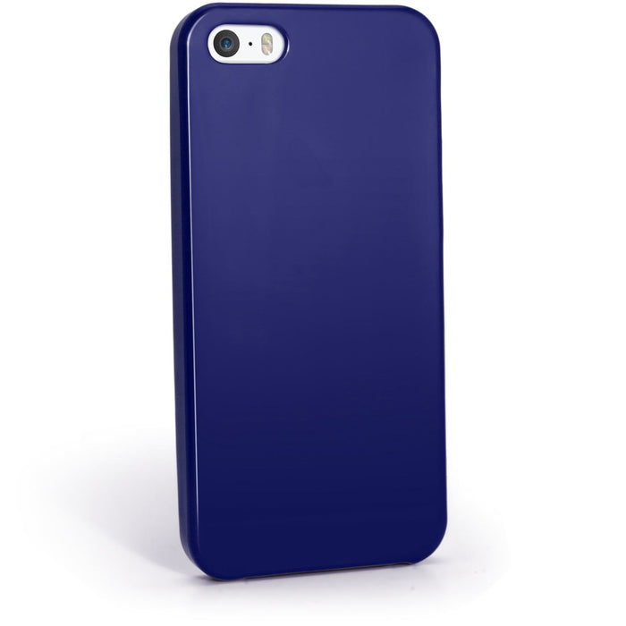 iGadgitz Blue Glossy Gel Case for Apple iPhone SE, 5S & 5 + Screen Protector (not suitable for 5C)