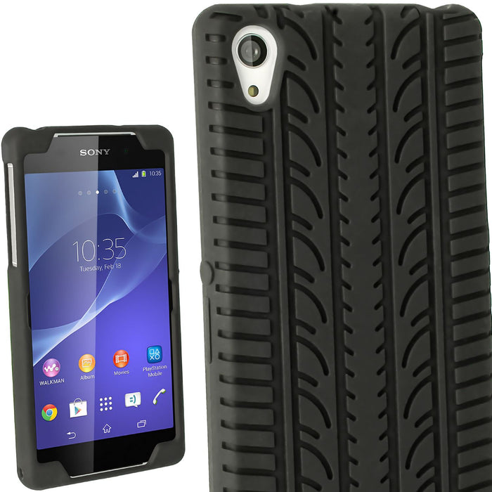 iGadgitz Black Tyre Skin Silicone Case Cover for Sony Xperia Z2 D6503 D6502 D6543 + Screen Protector