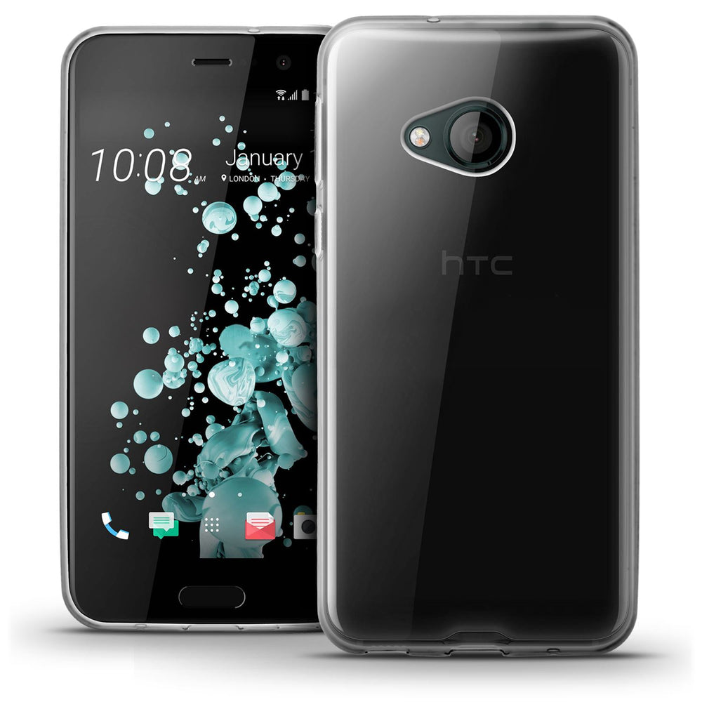 iGadgitz Transparent Clear Glossy TPU Gel Skin Case Cover for HTC U Play + Screen Protector