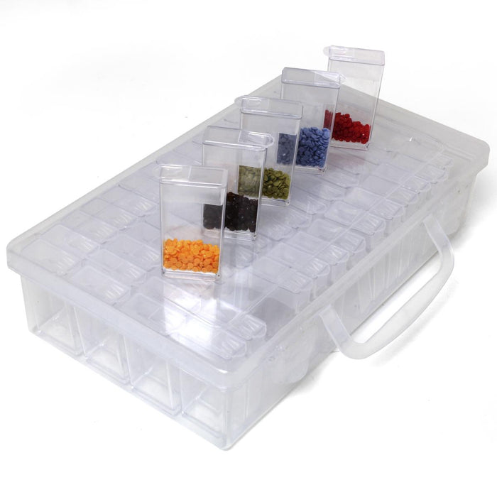 iGadgitz Home U7114 - 64 Container Diamond Painting Storage Box, Embroidery Bead Organiser Box - Clear