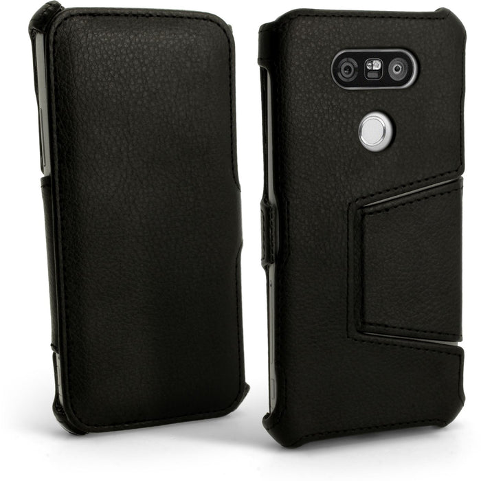 iGadgitz Premium Folio Black PU Leather Case Cover for LG G5 H850 H840 (2016) with Multi-Angle Viewing Stand + Screen Protector