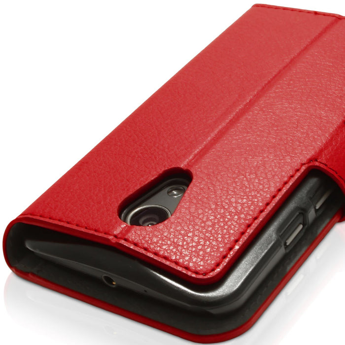 iGadgitz Wallet PU Leather Case Cover for Motorola Moto G 2nd Generation XT1068 + Card Slots + Stand + Screen Protector