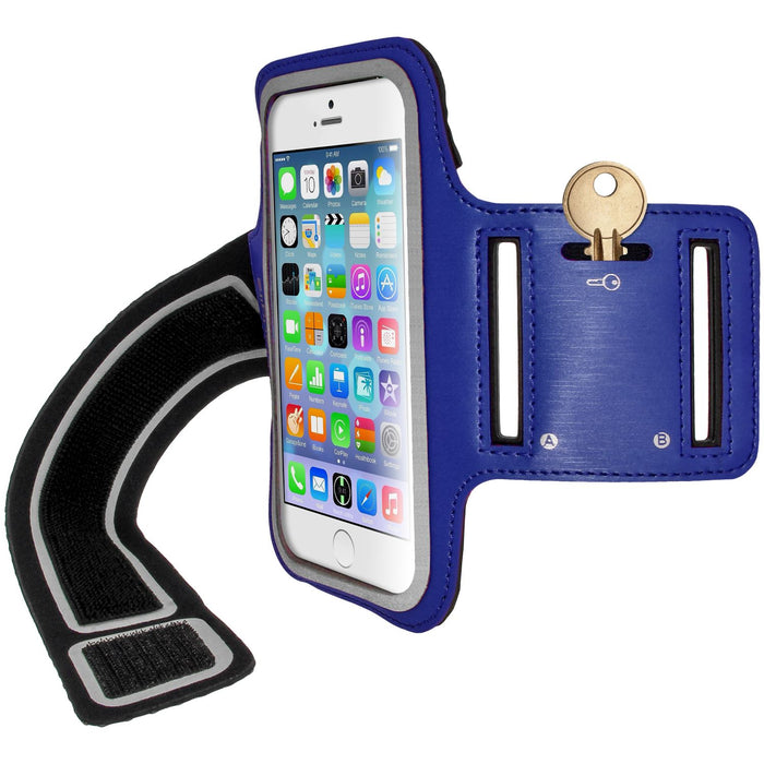 "iGadgitz U3158 - Reflective Anti-Slip Blue Sports Jogging Gym Armband for Apple iPhone 6 & 6S 4.7"" with Key Slot"