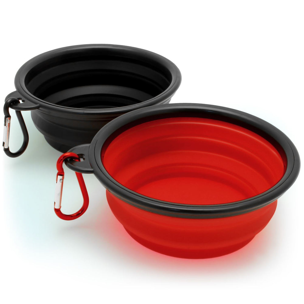iGadgitz Set of 2 Foldable Travel Silicone Dog Bowl Food Water Feeding Portable Dish for Pet