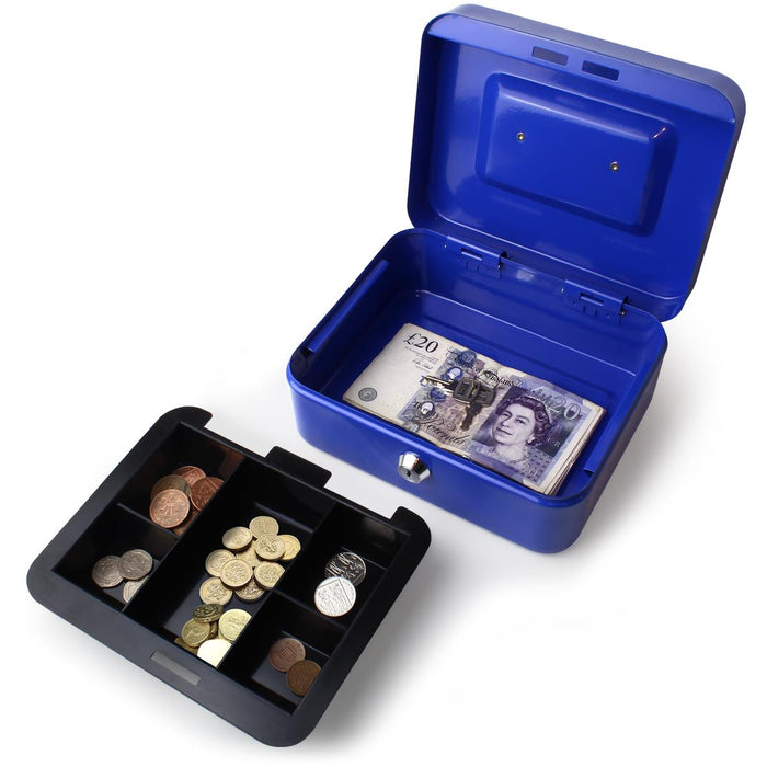 iGadgitz Home Petty Cash Box with Keys and Coin Tray, Petty Cash Tin, Money Tin