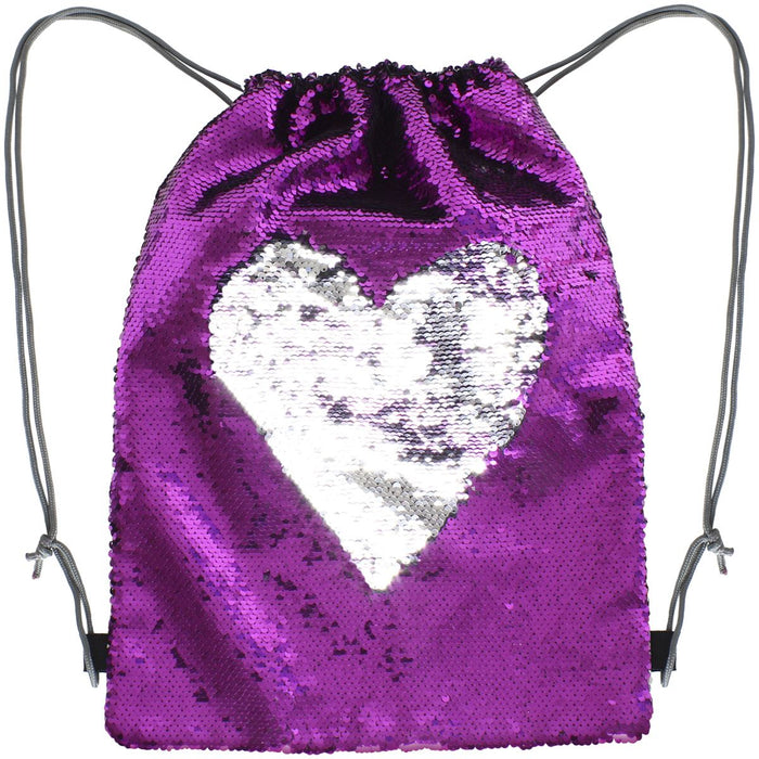 iGadgitz Xtra Polyester Sequin Drawstring Bag Magic Sequin Backpack - Two-Colour Reversible Sequin Bag, Create Patterns & Words