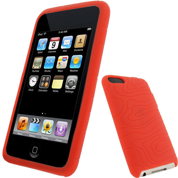 iGadgitz Red Silicone Skin Case for Apple iPod Touch 2nd & 3rd Generation 8gb, 16gb, 32gb & 64gb + Screen Protector