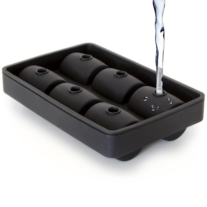 iGadgitz Home U7208 Silicone Barrel Ice Cube Moulds, 3D Barrel Ice Cube Tray (6 Barrels) - Black