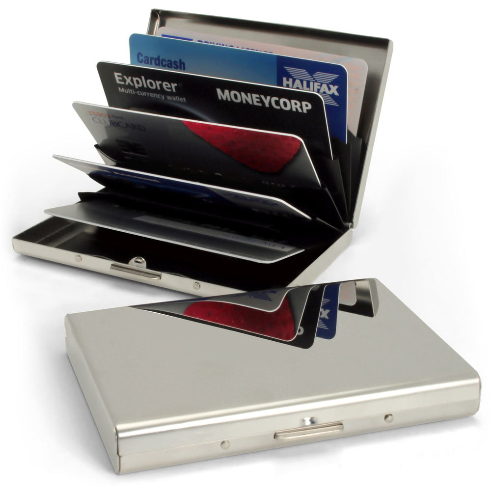 iGadgitz Ultra-Thin Stainless Steel RFID Blocking Credit Card Business Card Wallet Case Holder