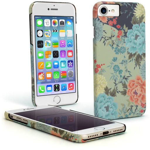 "iGadgitz 'Designer Collection' Floral Print Snap on PC Hard Back Case Cover for Apple iPhone 6, 6S & 7 4.7"" + Screen Protector"