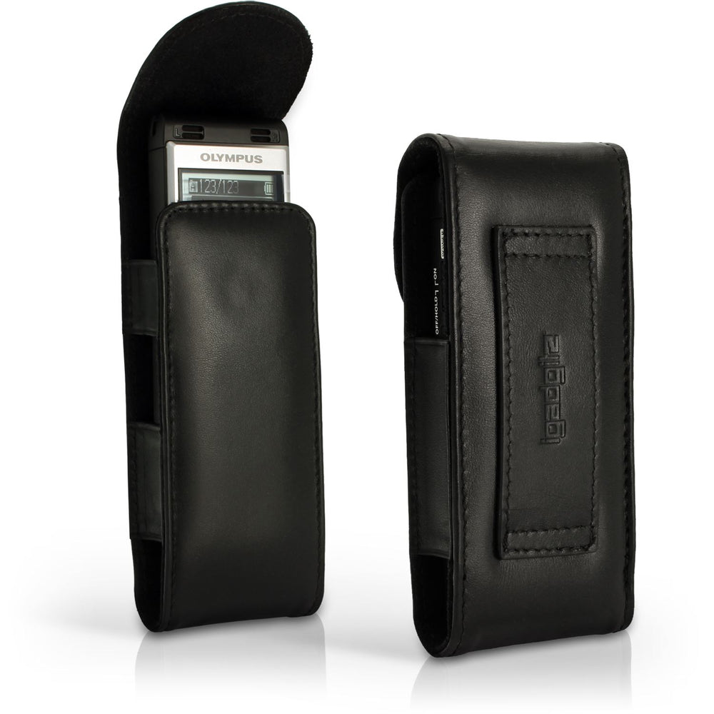 iGadgitz Black Genuine Leather Case Cover for Olympus WS-852 853 Digital Voice Recorder