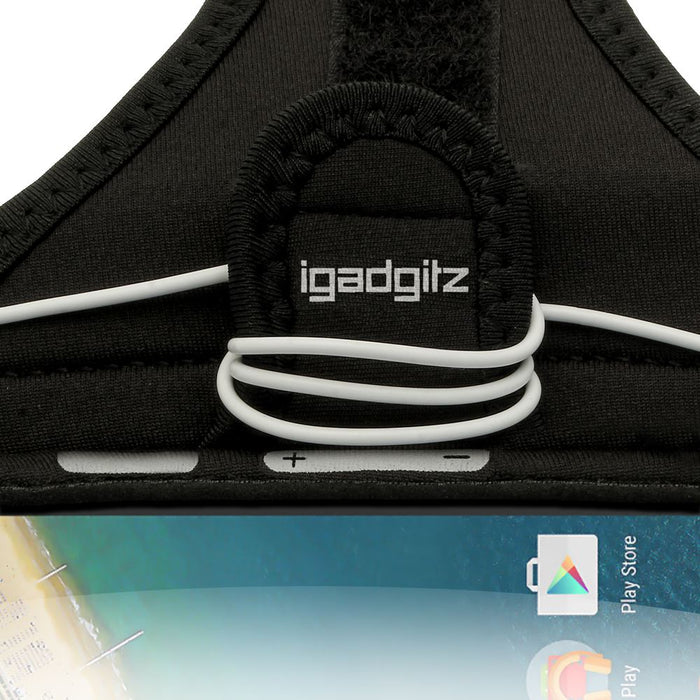 iGadgitz Water Resistant Black Sports Jogging Gym Armband for LG Nexus 5X 2015