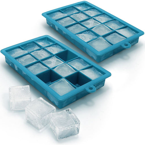 iGadgitz Home Silicone Ice Cube Tray 15 Square Food Grade Ice Cube Moulds – Pack of 2